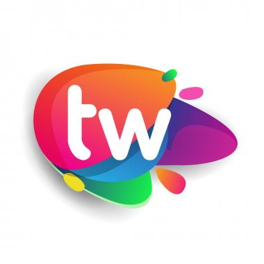 Letter TW logo with colorful splash background, letter combination logo design for creative industry, web, business and company. icon