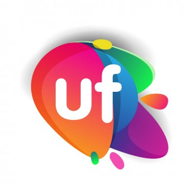 Letter UF logo with colorful splash background, letter combination logo design for creative industry, web, business and company. icon