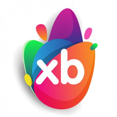 Letter XB logo with colorful splash background, letter combination logo design for creative industry, web, business and company. icon