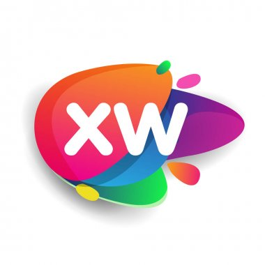 Letter XW logo with colorful splash background, letter combination logo design for creative industry, web, business and company. icon