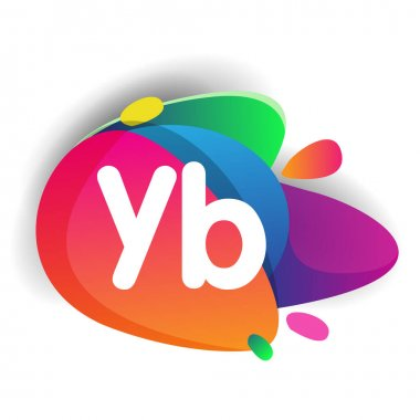 Letter YB logo with colorful splash background, letter combination logo design for creative industry, web, business and company. icon