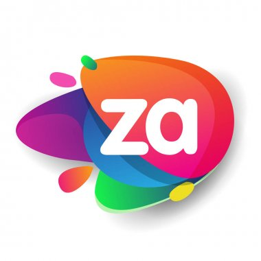 Letter ZA logo with colorful splash background, letter combination logo design for creative industry, web, business and company. icon