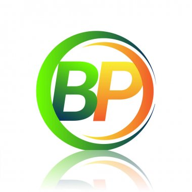 Initial letter logo BP company name green and orange color on circle and swoosh design. vector logotype for business and company identity. icon