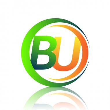 Initial letter logo BU company name green and orange color on circle and swoosh design. vector logotype for business and company identity. icon