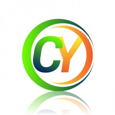 Initial letter logo CY company name green and orange color on circle and swoosh design. vector logotype for business and company identity. icon