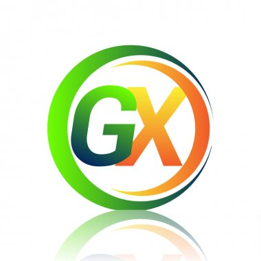 Initial letter logo GX company name green and orange color on circle and swoosh design. vector logotype for business and company identity. icon