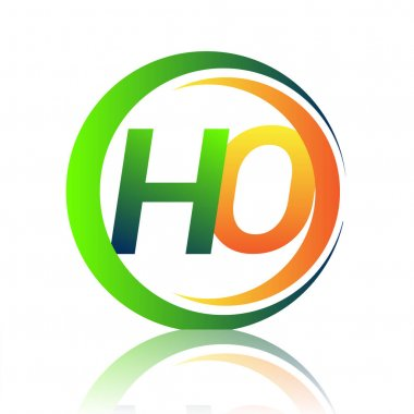 Initial letter logo HO company name green and orange color on circle and swoosh design. vector logotype for business and company identity. icon