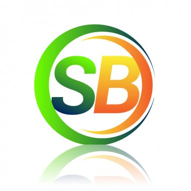 Initial letter logo SB company name green and orange color on circle and swoosh design. vector logotype for business and company identity. icon