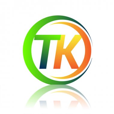 Initial letter logo TK company name green and orange color on circle and swoosh design. vector logotype for business and company identity. icon