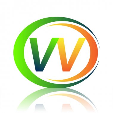 Initial letter logo VV company name green and orange color on circle and swoosh design. vector logotype for business and company identity. icon