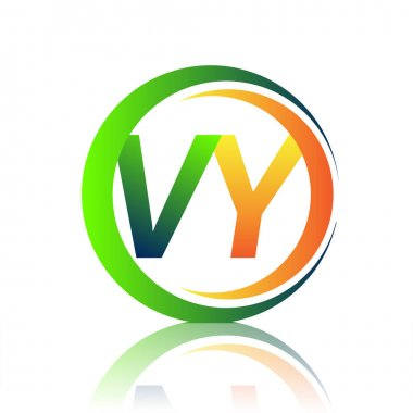 Initial letter logo VY company name green and orange color on circle and swoosh design. vector logotype for business and company identity. icon