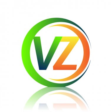 Initial letter logo VZ company name green and orange color on circle and swoosh design. vector logotype for business and company identity. icon