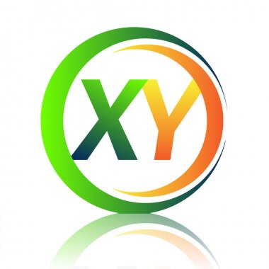 Initial letter logo XY company name green and orange color on circle and swoosh design. vector logotype for business and company identity. icon