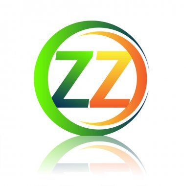 Initial letter logo ZZ company name green and orange color on circle and swoosh design. vector logotype for business and company identity. icon