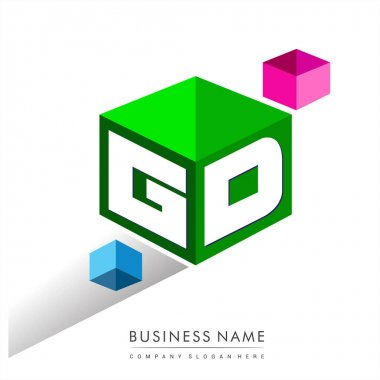 Letter GD logo in hexagon shape and green background, cube logo with letter design for company identity. icon