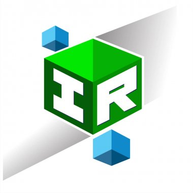 Letter IR logo in hexagon shape and green background, cube logo with letter design for company identity. icon