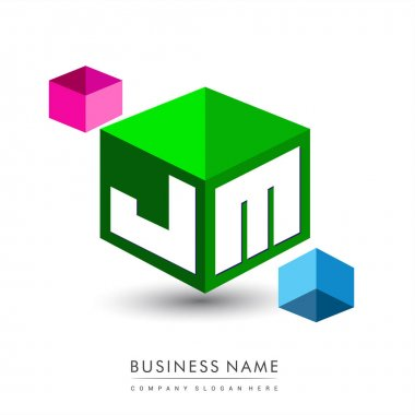 Letter JM logo in hexagon shape and green background, cube logo with letter design for company identity. icon