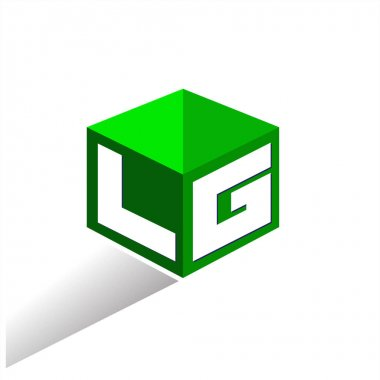 Letter LG logo in hexagon shape and green background, cube logo with letter design for company identity. icon