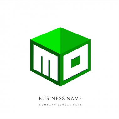 Letter MO logo in hexagon shape and green background, cube logo with letter design for company identity. icon