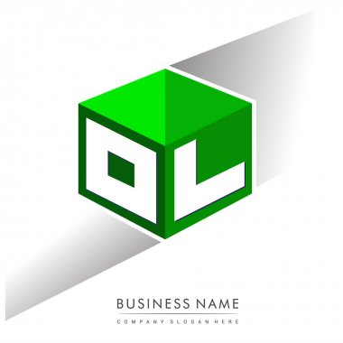 Letter OL logo in hexagon shape and green background, cube logo with letter design for company identity. icon