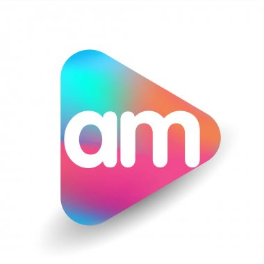 Letter AM logo in triangle shape and colorful background, letter combination logo design for business and company identity. icon
