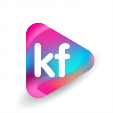 Letter KF logo in triangle shape and colorful background, letter combination logo design for business and company identity. icon