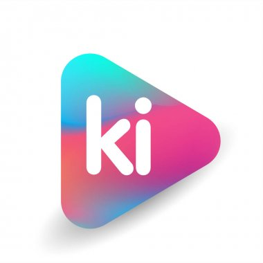 Letter KI logo in triangle shape and colorful background, letter combination logo design for business and company identity. icon