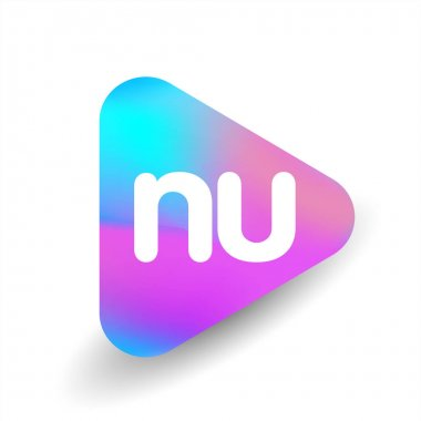 Letter NU logo in triangle shape and colorful background, letter combination logo design for business and company identity. icon