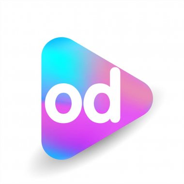 Letter OD logo in triangle shape and colorful background, letter combination logo design for business and company identity. icon