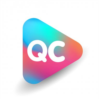 Letter QC logo in triangle shape and colorful background, letter combination logo design for business and company identity. icon