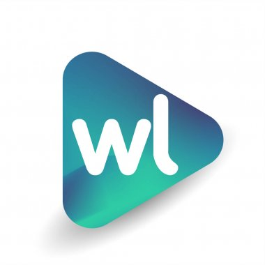 Letter WL logo in triangle shape and colorful background, letter combination logo design for business and company identity. icon