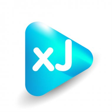 Letter XJ logo in triangle shape and colorful background, letter combination logo design for business and company identity. icon