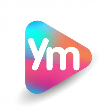 Letter YM logo in triangle shape and colorful background, letter combination logo design for business and company identity. icon