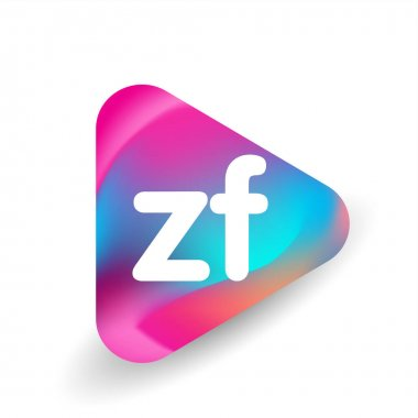 Letter ZF logo in triangle shape and colorful background, letter combination logo design for business and company identity. icon