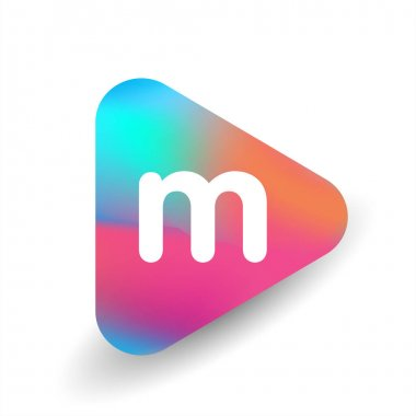 Letter M logo in triangle shape and colorful background, letter combination logo design for business and company identity. icon