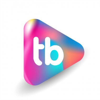 Letter TB logo in triangle shape and colorful background, letter combination logo design for business and company identity. icon