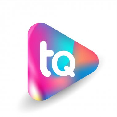 Letter TQ logo in triangle shape and colorful background, letter combination logo design for business and company identity. icon
