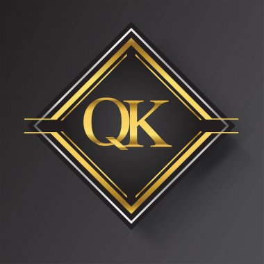 QK Letter logo in a square shape gold and silver colored geometric ornaments. Vector design template elements for your business or company identity. icon