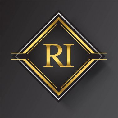 RI Letter logo in a square shape gold and silver colored geometric ornaments. Vector design template elements for your business or company identity. icon