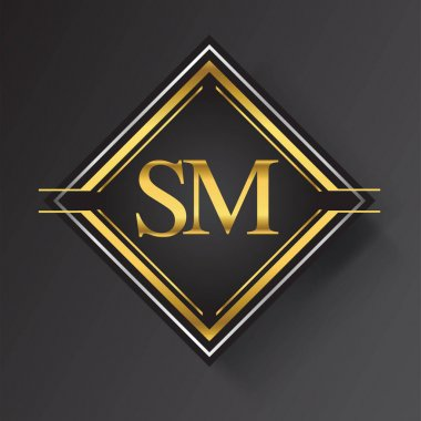 SM Letter logo in a square shape gold and silver colored geometric ornaments. Vector design template elements for your business or company identity. icon