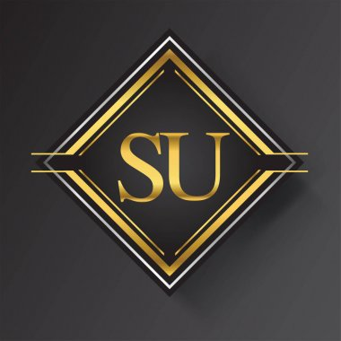 SU Letter logo in a square shape gold and silver colored geometric ornaments. Vector design template elements for your business or company identity. icon