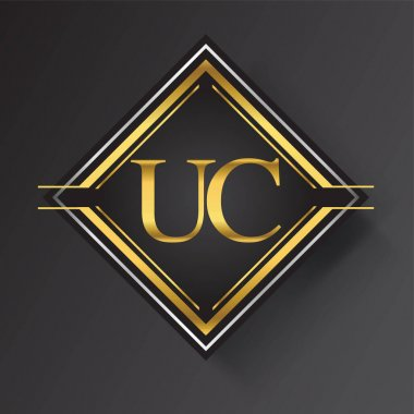 UC Letter logo in a square shape gold and silver colored geometric ornaments. Vector design template elements for your business or company identity. icon