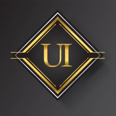 UI Letter logo in a square shape gold and silver colored geometric ornaments. Vector design template elements for your business or company identity. icon