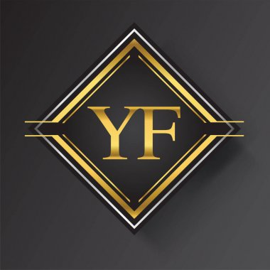 YF Letter logo in a square shape gold and silver colored geometric ornaments. Vector design template elements for your business or company identity. icon