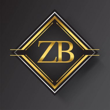 ZB Letter logo in a square shape gold and silver colored geometric ornaments. Vector design template elements for your business or company identity. icon