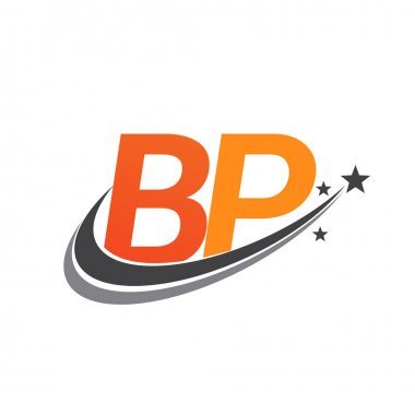 Initial letter BP logotype company name colored orange and grey swoosh star design. vector logo for business and company identity. icon