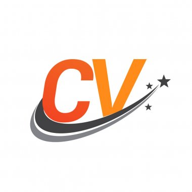 Initial letter CV logotype company name colored orange and grey swoosh star design. vector logo for business and company identity. icon