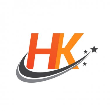 Initial letter HK logotype company name colored orange and grey swoosh star design. vector logo for business and company identity. icon
