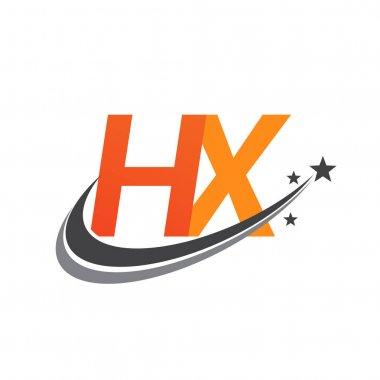 Initial letter HX logotype company name colored orange and grey swoosh star design. vector logo for business and company identity. icon