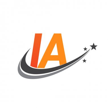 Initial letter IA logotype company name colored orange and grey swoosh star design. vector logo for business and company identity. icon